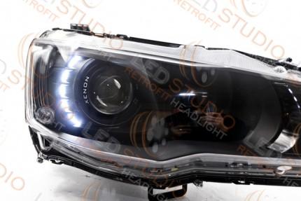 i Led светодиодные фары Mitsubishi Lancer 07-